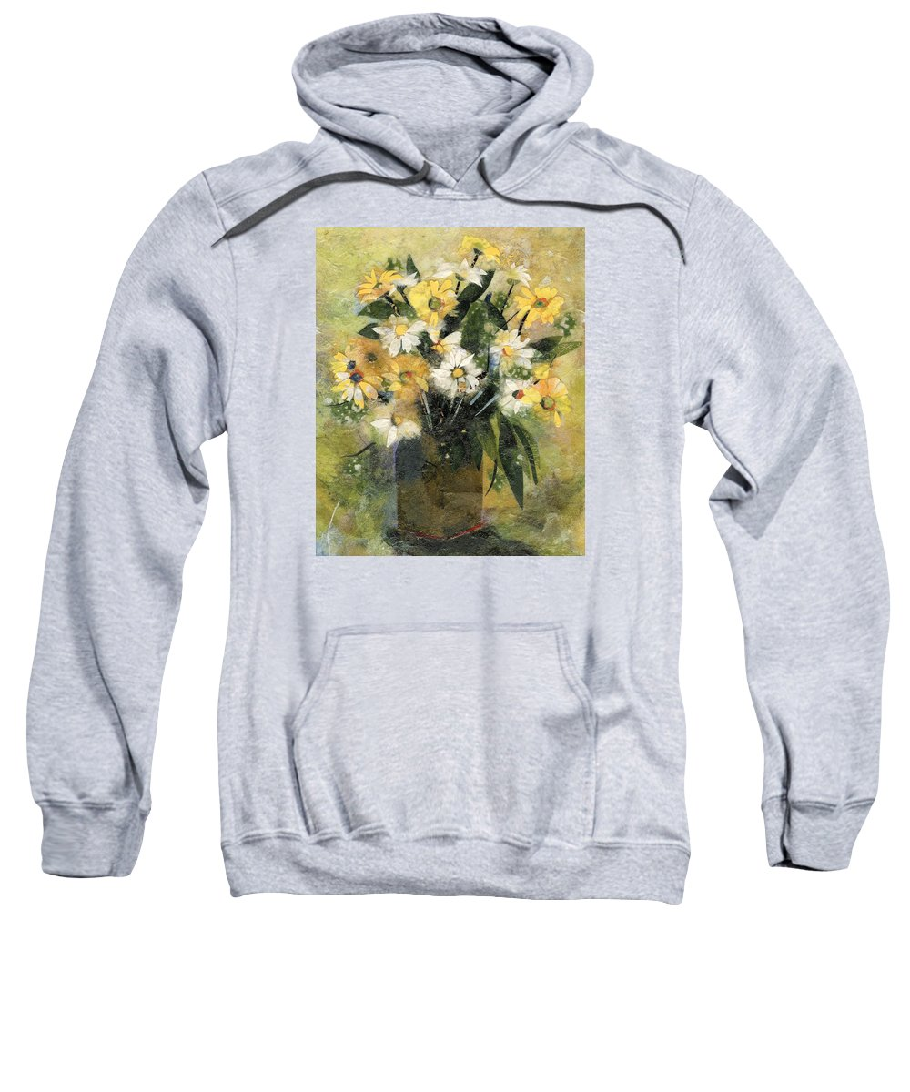 Limited Edition Prints Sweatshirt featuring the painting Flowers In White And Yellow by Nira Schwartz