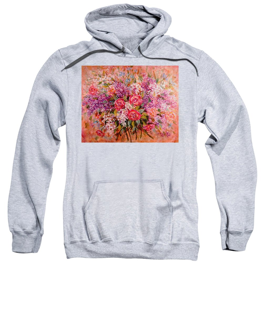 Romantic Flowers Sweatshirt featuring the painting Flowers Of Romance by Natalie Holland