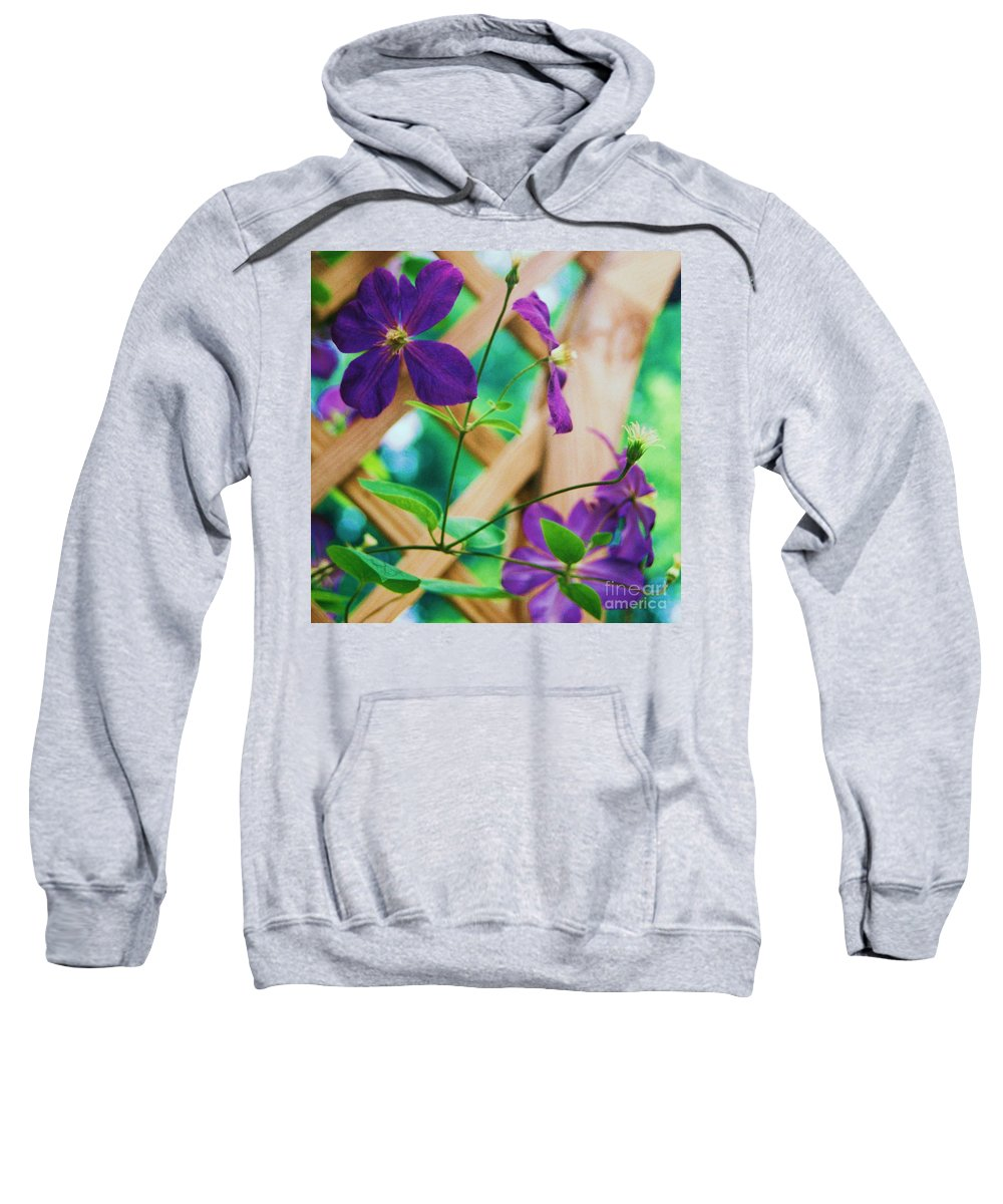 Floral Sweatshirt featuring the painting Flowers Purple by Eric Schiabor