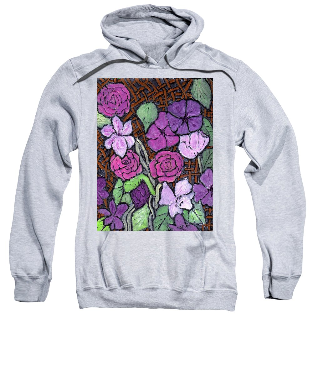 Flowers Sweatshirt featuring the painting Flowers With Basket Weave by Wayne Potrafka