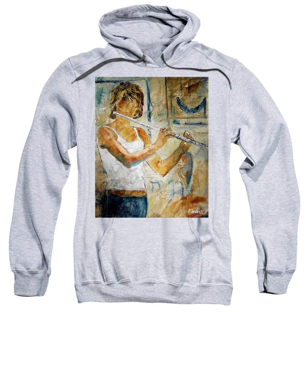 Music Sweatshirt featuring the painting Flutist by Pol Ledent