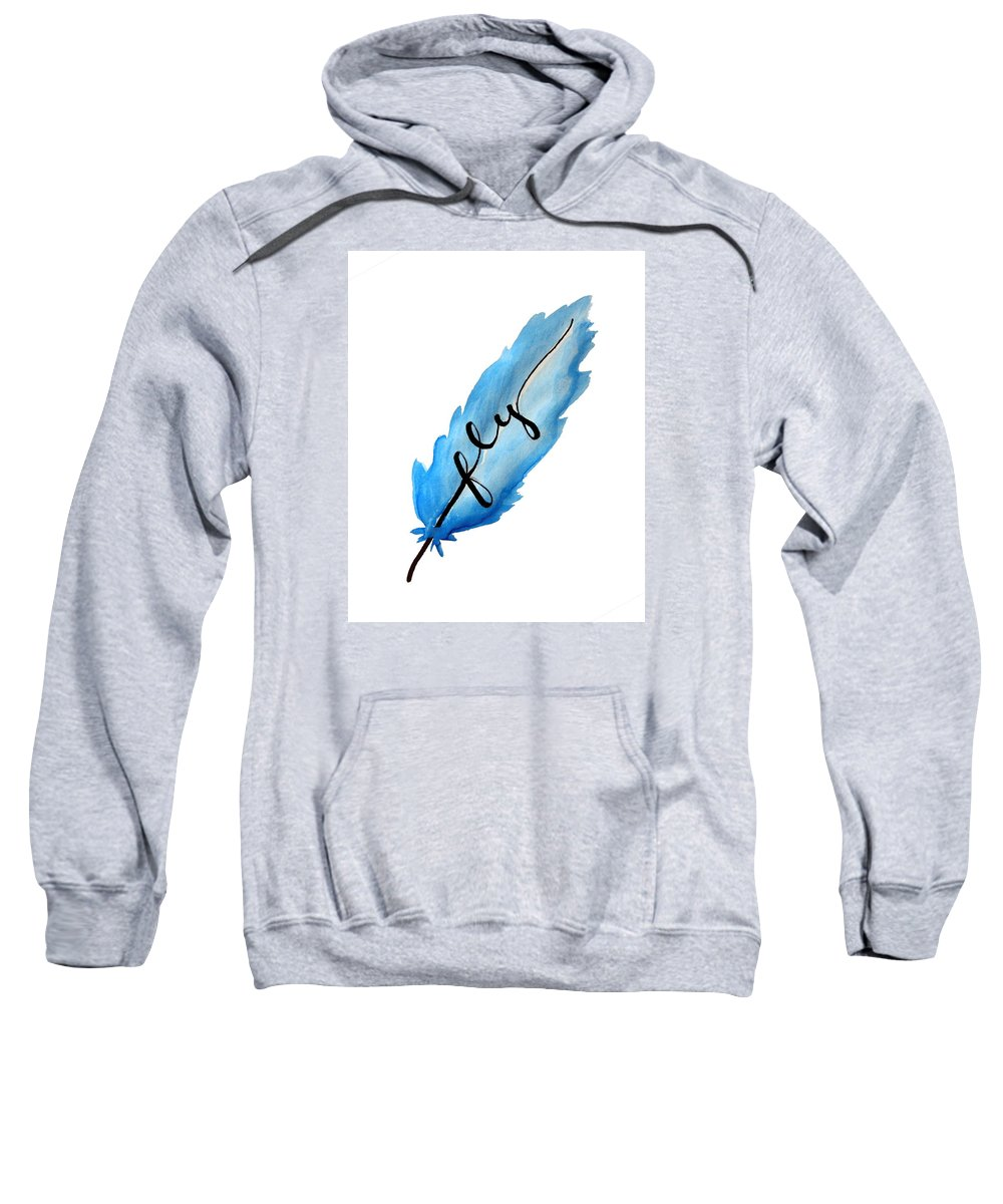 Fly Sweatshirt featuring the painting Fly Blue Feather Vertical by Michelle Eshleman