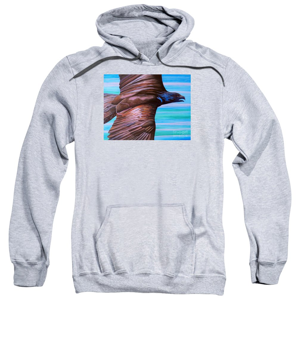 Eagle Sweatshirt featuring the painting Fly Like An Eagle by Brian Commerford