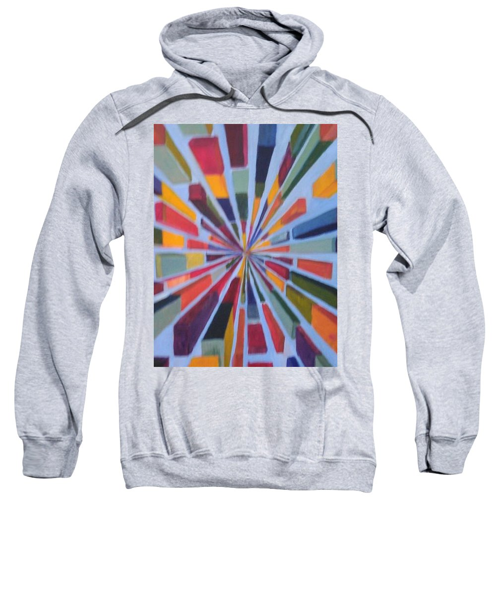 Non Representational Art Sweatshirt featuring the painting Flying box by Andrew Johnson