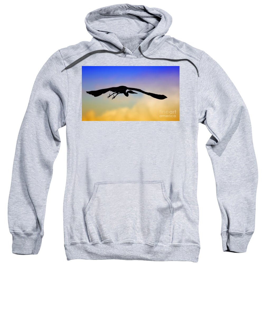 Flying Sweatshirt featuring the photograph Flying Heron In Silhouette by Nick Biemans