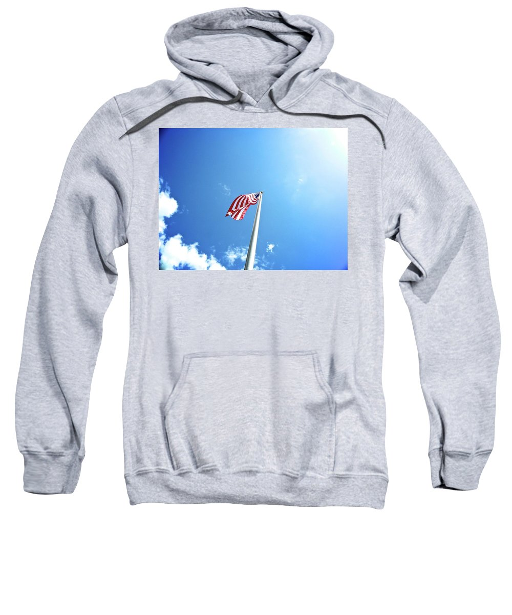 American Flag Sweatshirt featuring the photograph Flying High by Shannon Turek