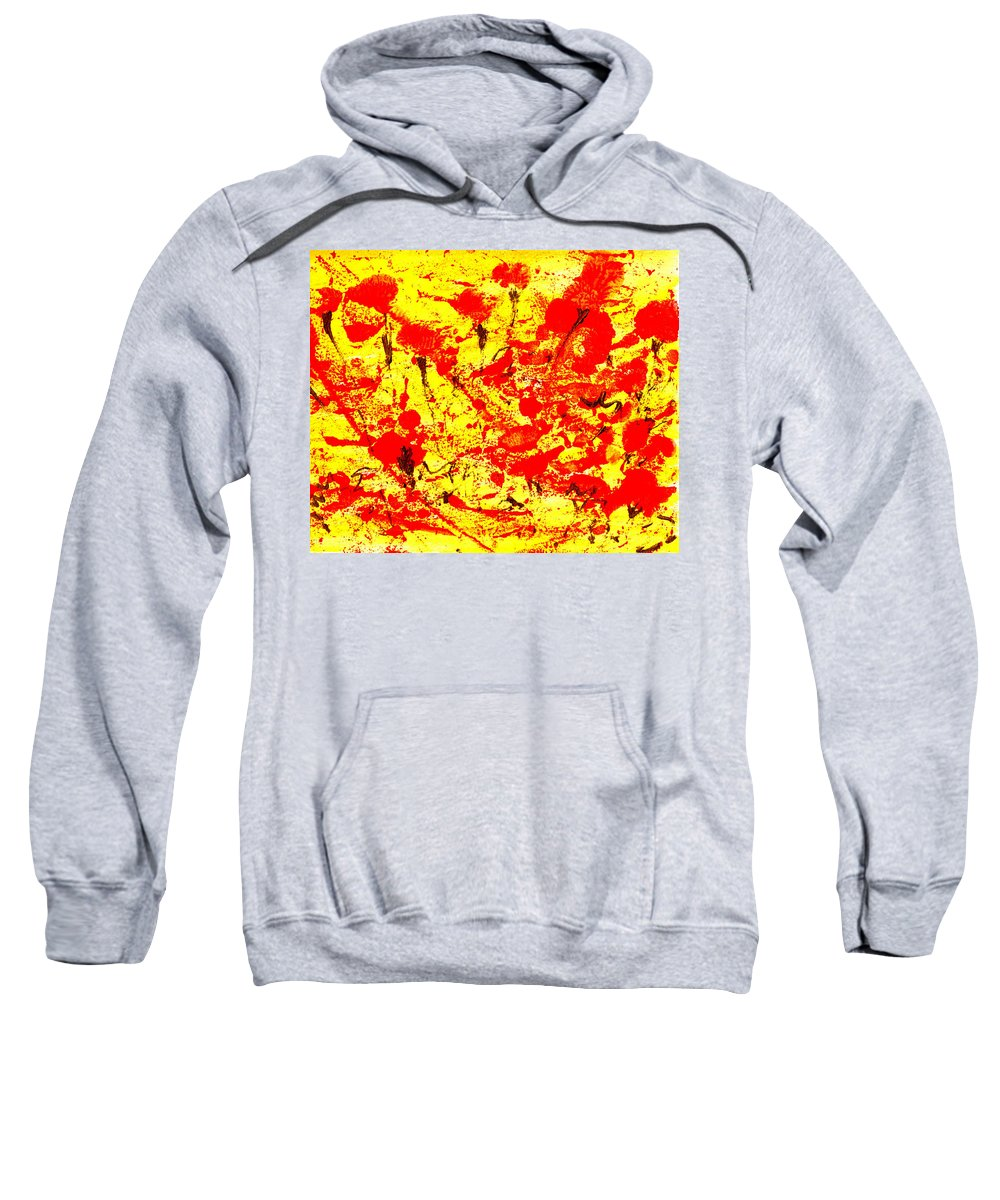 Abstract Sweatshirt featuring the painting Flying Poppies by Wayne Potrafka