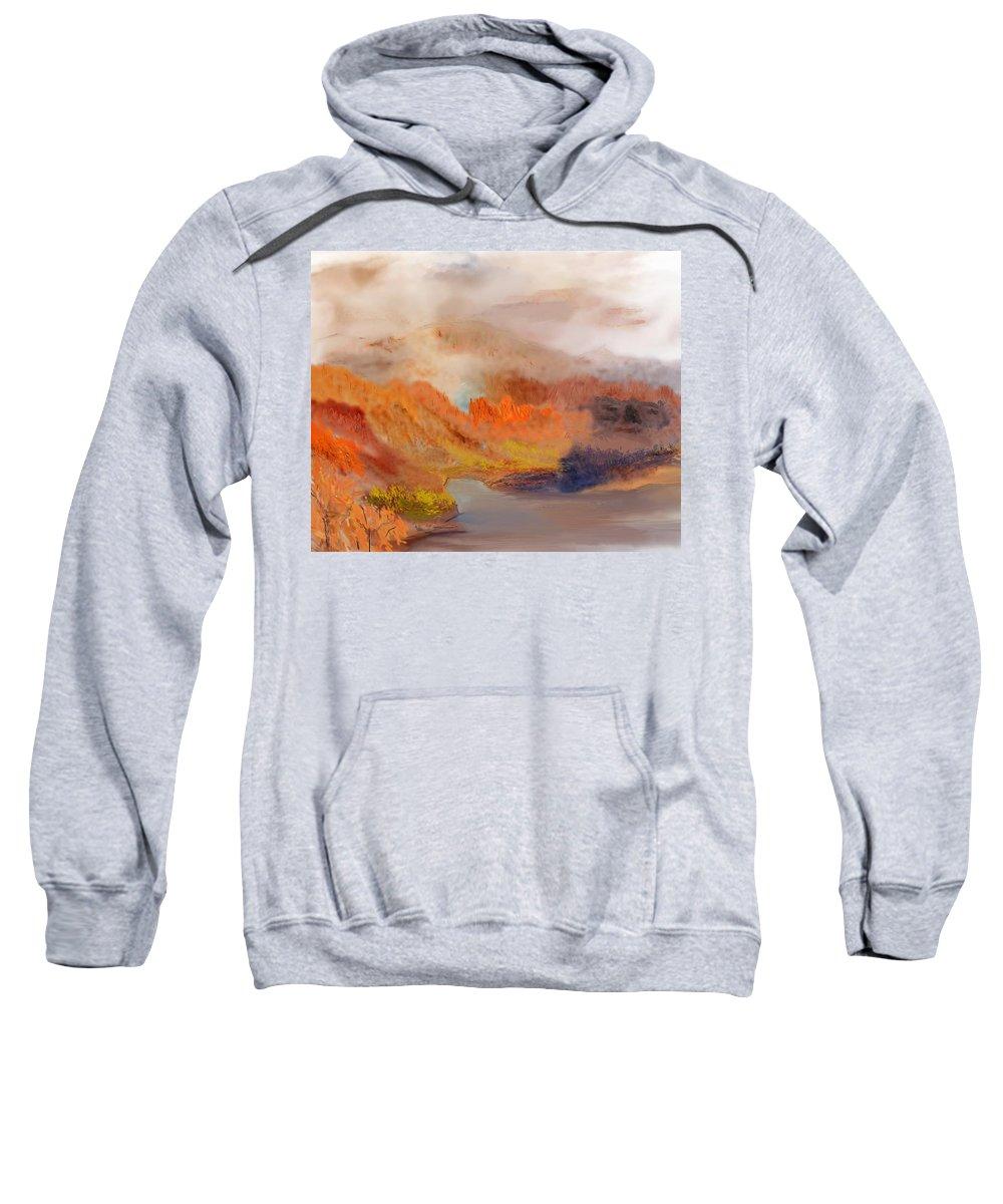 Fine Art Sweatshirt featuring the digital art Foggy Autumnal Dream by David Lane