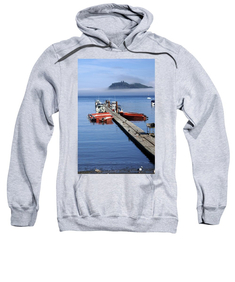 Olympic Sweatshirt featuring the photograph Foggy Dock by Marty Koch