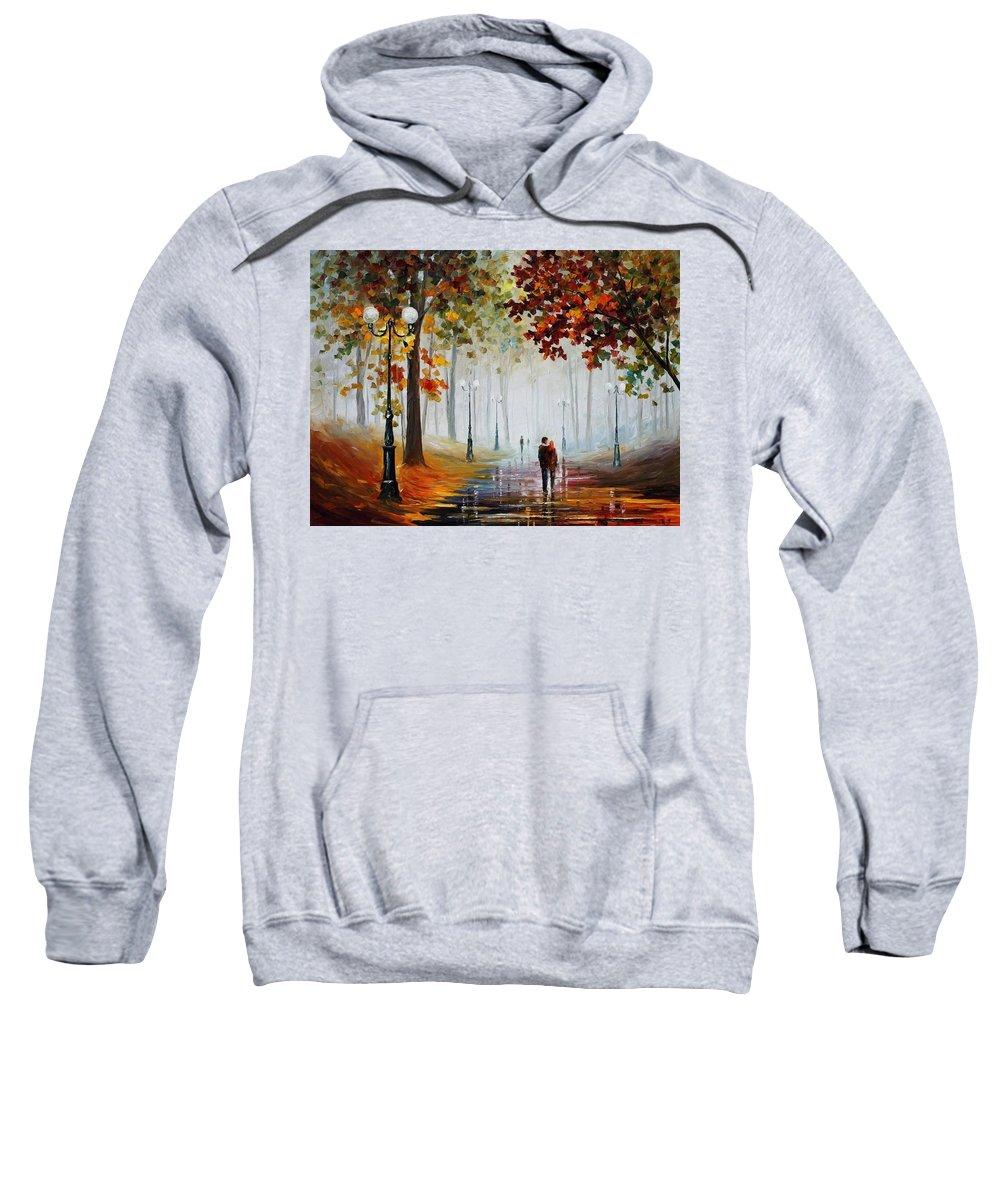 Afremov Sweatshirt featuring the painting Foggy Morning by Leonid Afremov