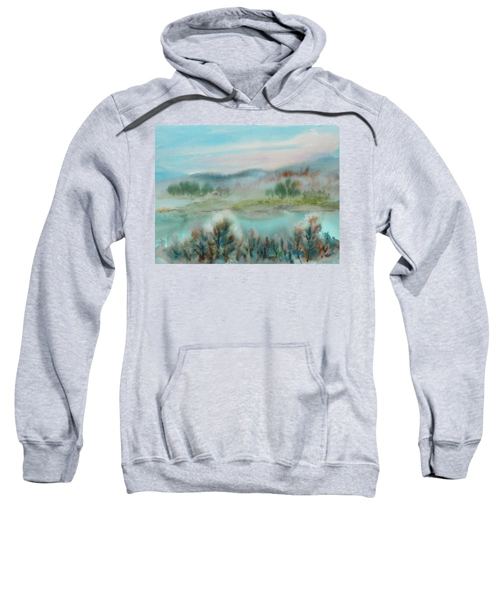 Landscape Sweatshirt featuring the painting Foggy Morning by Xueling Zou