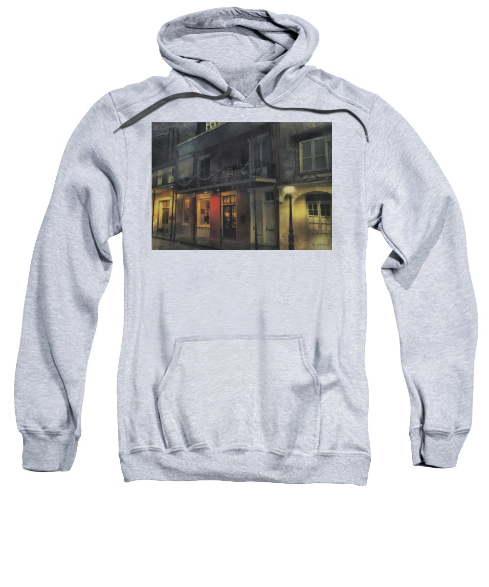 Landscape Sweatshirt featuring the painting Foggy Night On Dumaine by RC DeWinter