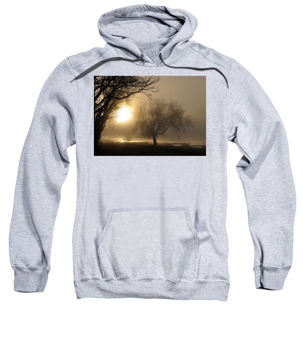 Foggy Sweatshirt featuring the photograph Foggy November Sunrise On The Bay by Tim Nyberg