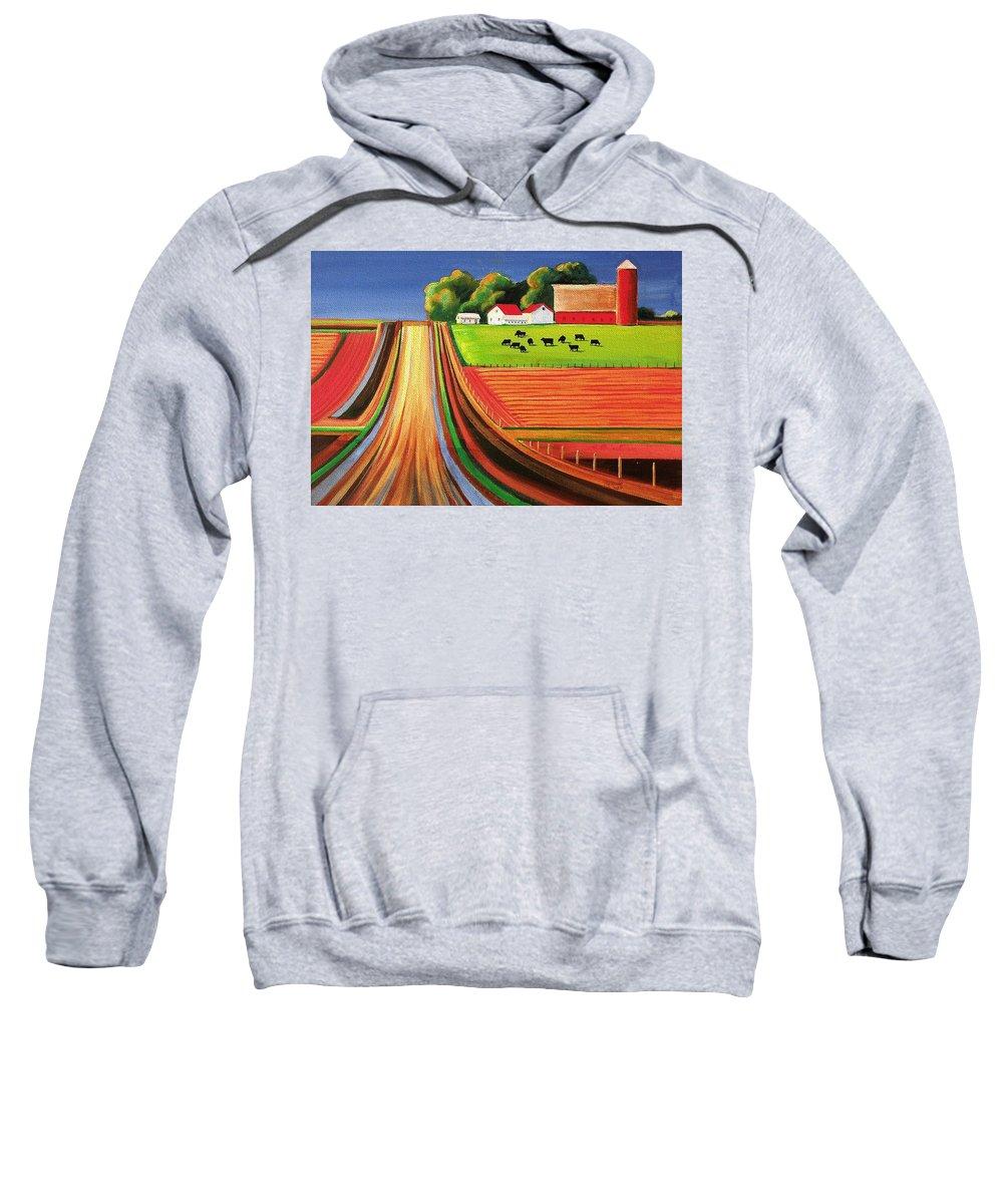 Folk Art Sweatshirt featuring the painting Folk Art Farm by Toni Grote