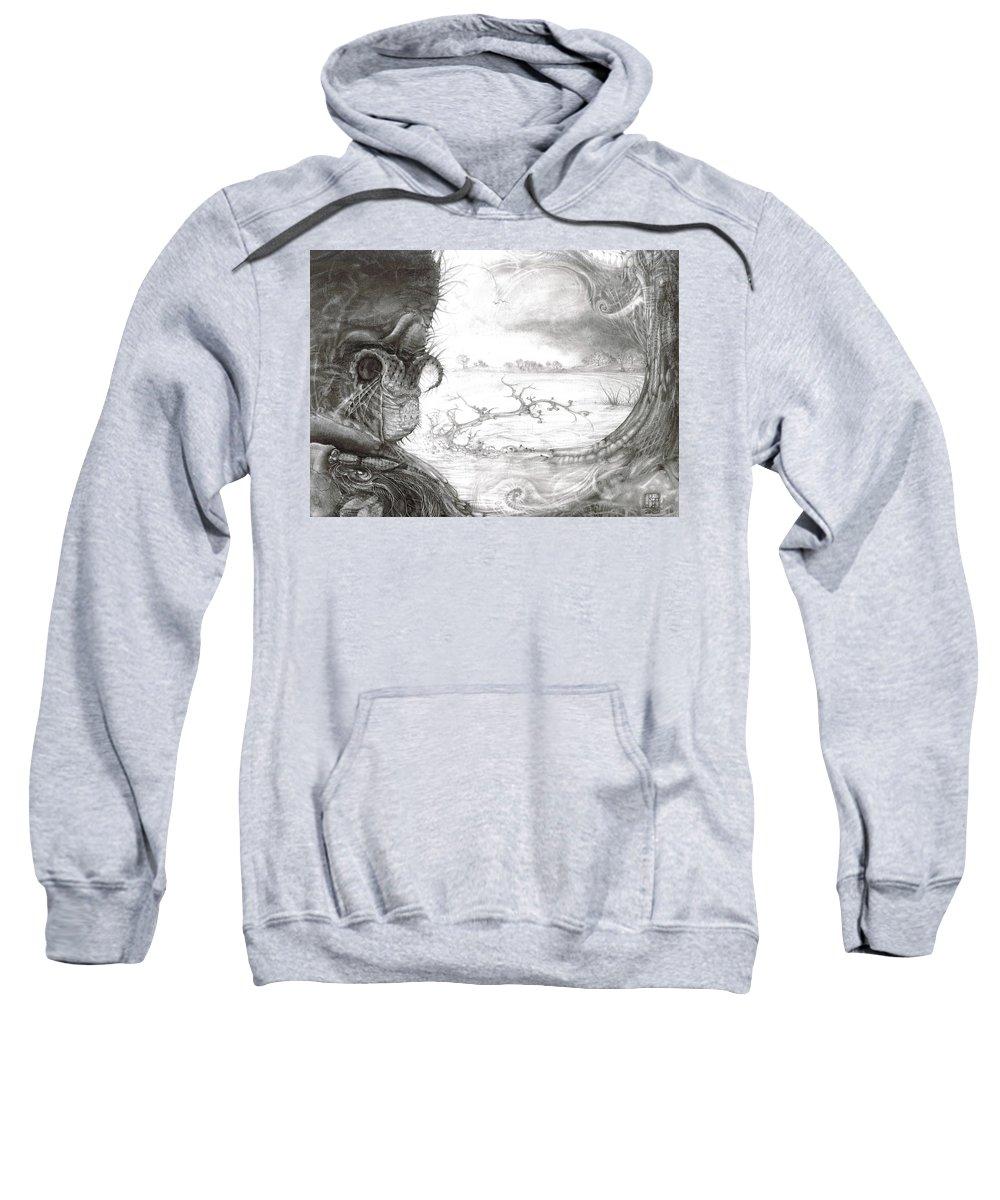 Fomorii Sweatshirt featuring the drawing Fomorii Swamp by Otto Rapp