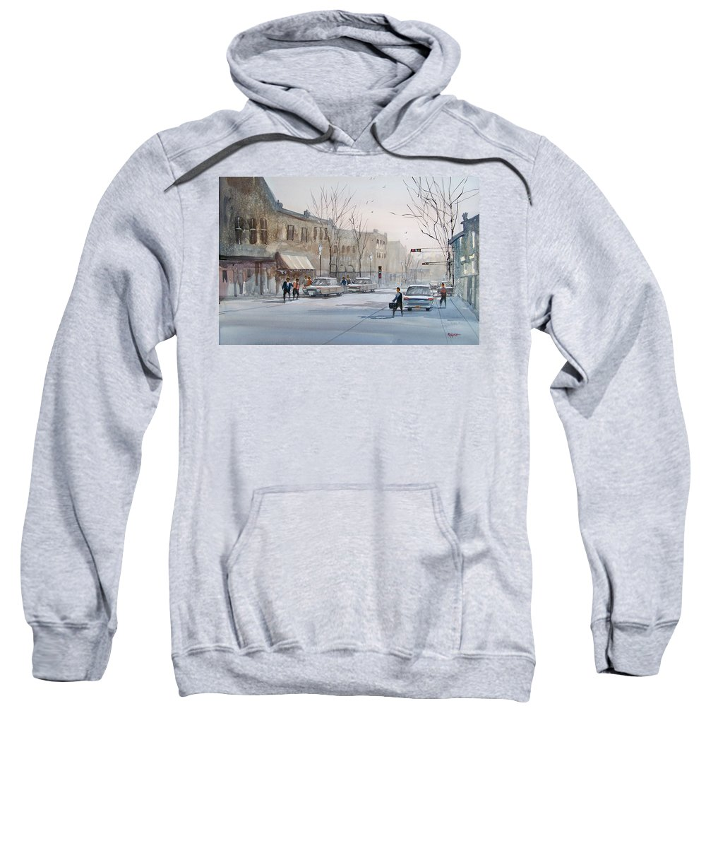 Ryan Radke Sweatshirt featuring the painting Fond Du Lac - Downtown by Ryan Radke