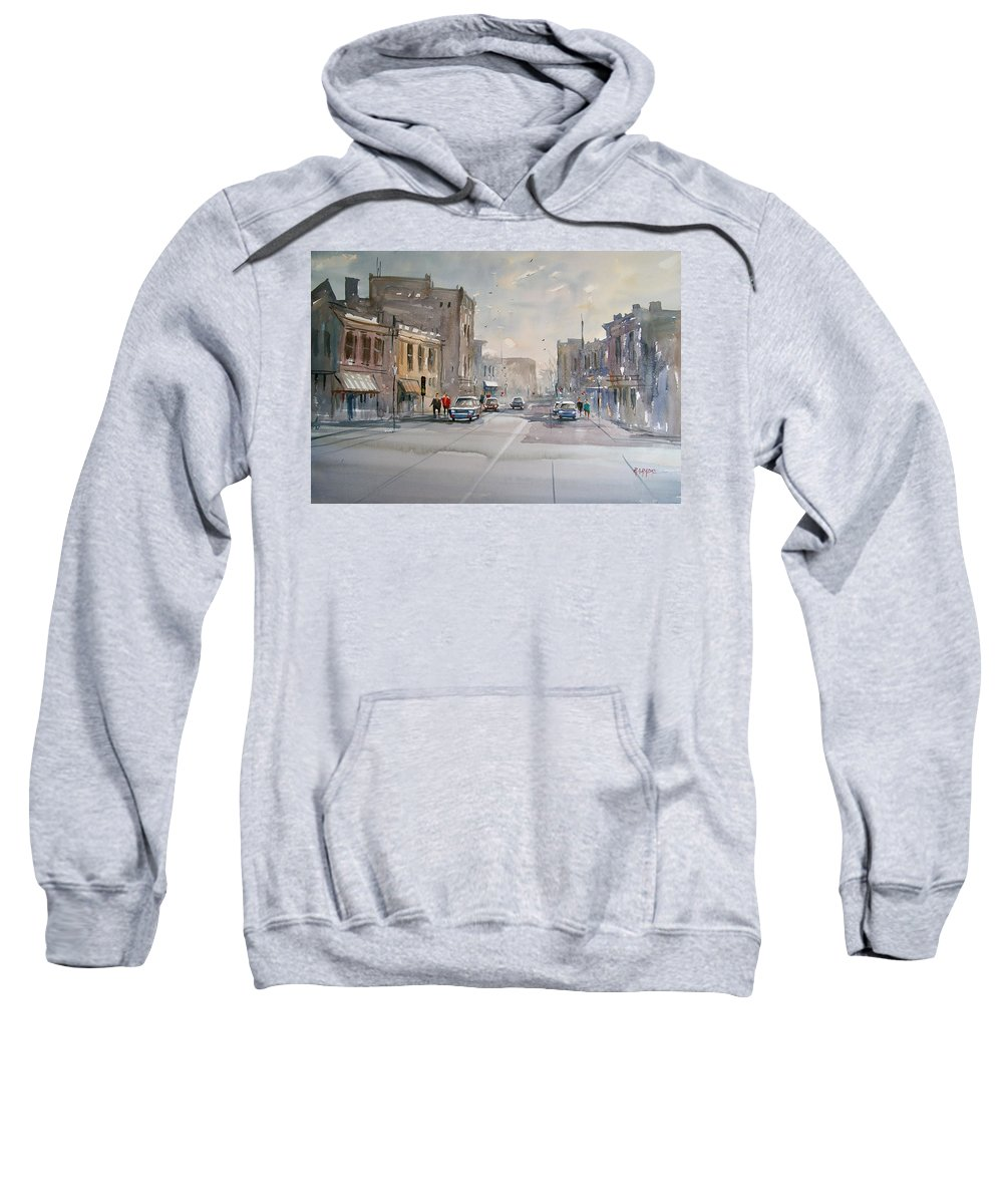 Watercolor Sweatshirt featuring the painting Fond Du Lac - Main Street by Ryan Radke