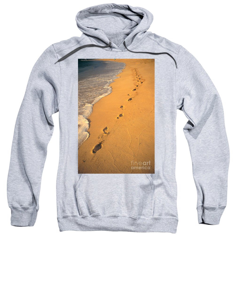 Afternoon Sweatshirt featuring the photograph Footprints by Mary Van de Ven - Printscapes