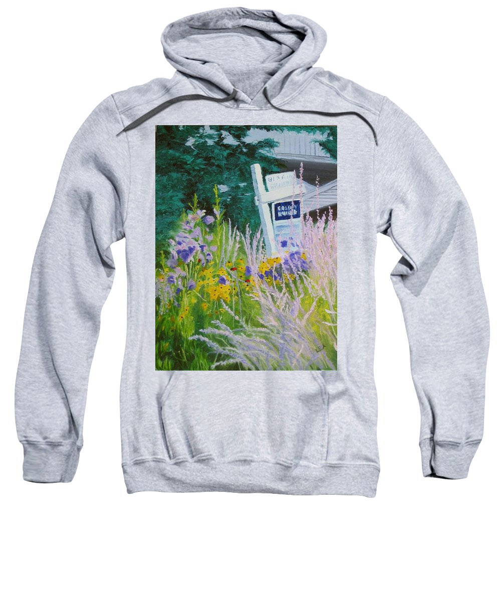 Landscape Sweatshirt featuring the painting For Sale - A Patch Of Paradise by Lea Novak