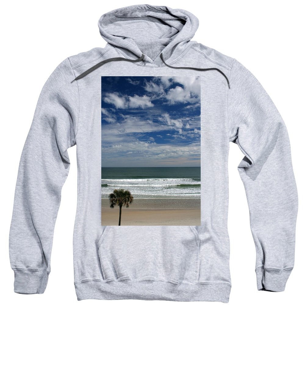 Beach Sky Cloud Clouds Blue Water Wave Waves Palmtree Tree Palm Sand Sun Sunny Vacation Travel Sweatshirt featuring the photograph For Your Pleasure by Andrei Shliakhau