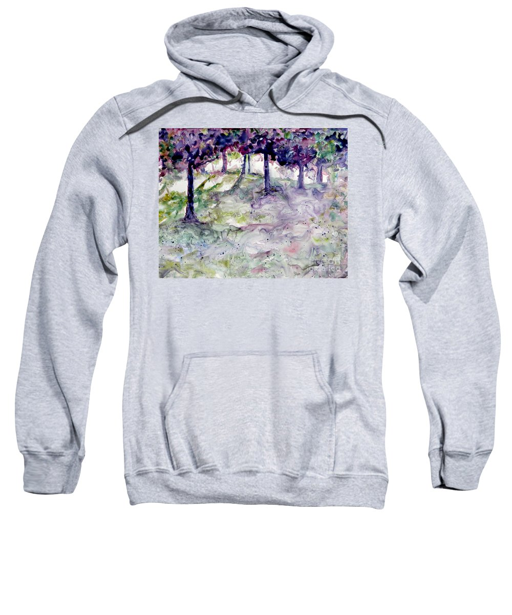 Fastasy Sweatshirt featuring the painting Forest Fantasy by Jan Bennicoff