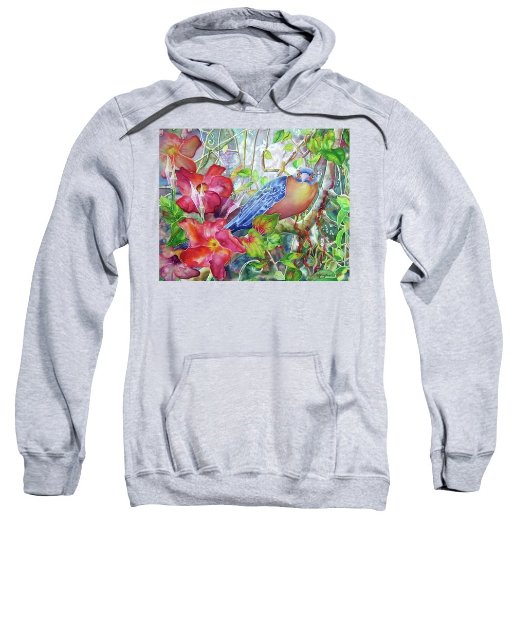Bird Sweatshirt featuring the painting Forest Guardian by Deborah Younglao