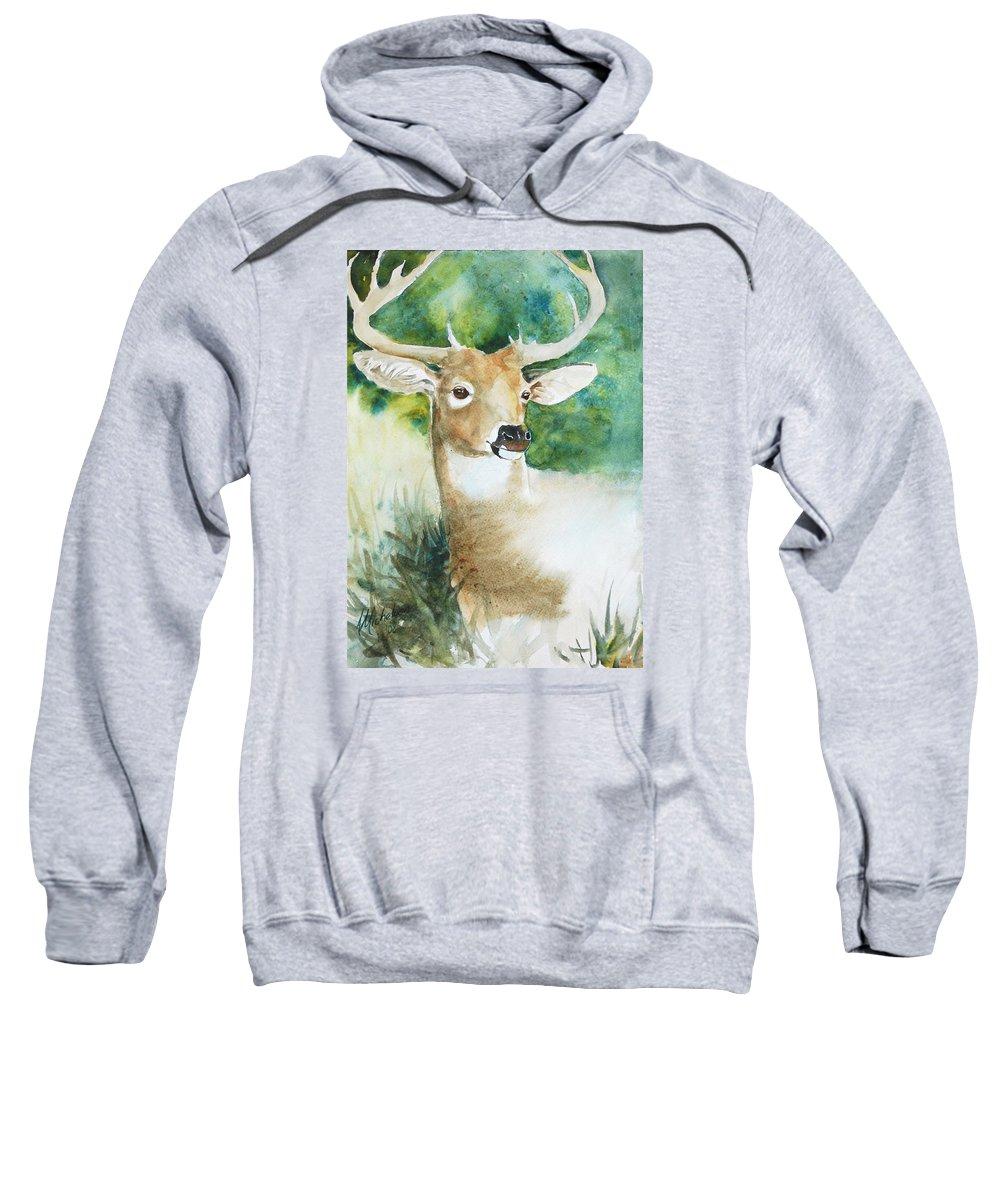Deer Sweatshirt featuring the painting Forest Spirit by Christie Michelsen