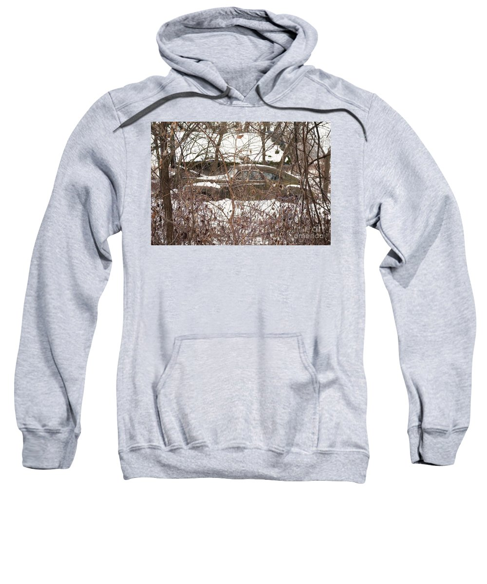 Landscape/ Old Car Sweatshirt featuring the photograph Forgotten But Not Lost by Kristen Sanders