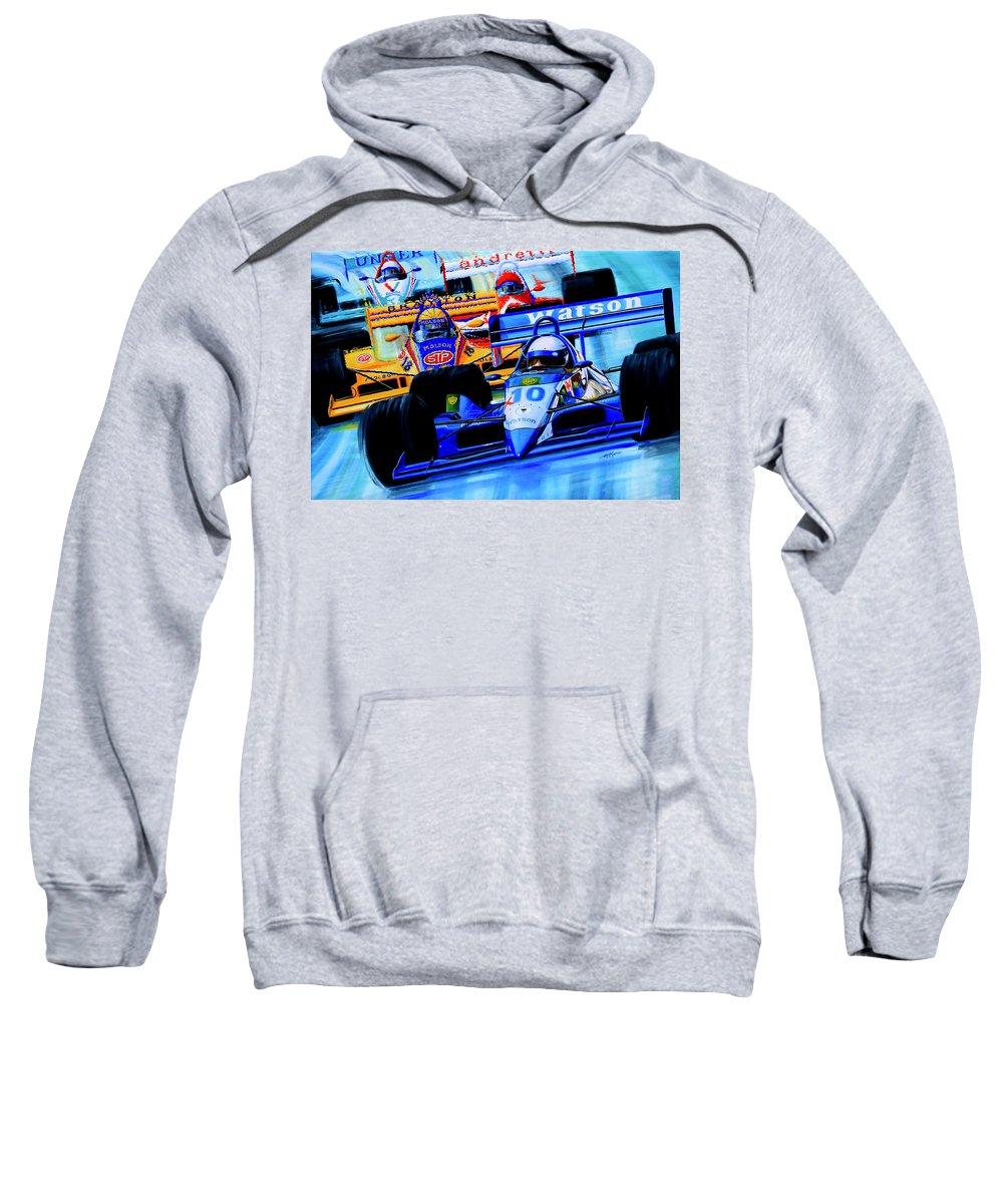 Formula 1 Race Painting Sweatshirt featuring the painting Formula 1 Race by Hanne Lore Koehler