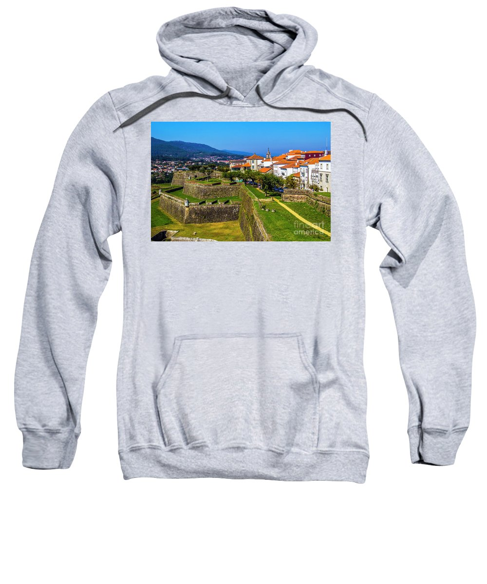 Valenca Sweatshirt featuring the photograph Fortress Walls by Roberta Bragan