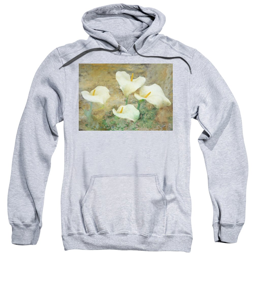Lilies Sweatshirt featuring the photograph Four Lilies by Hal Halli
