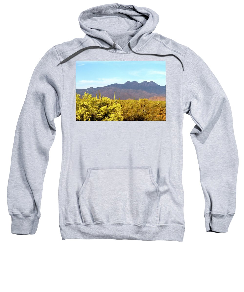 Arizona Sweatshirt featuring the photograph Four Peaks In May by Cathy Franklin