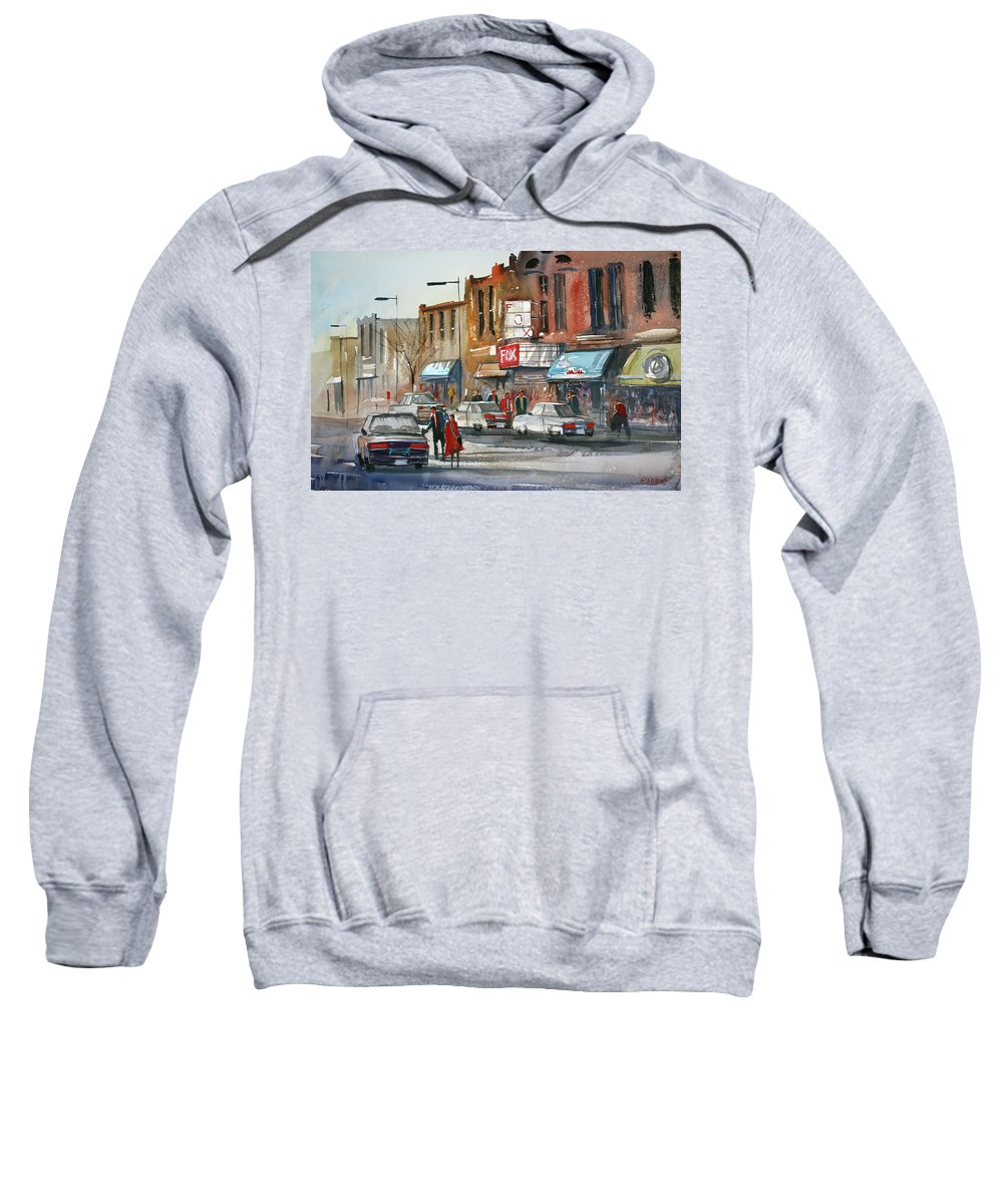 Ryan Radke Sweatshirt featuring the painting Fox Theater - Steven's Point by Ryan Radke