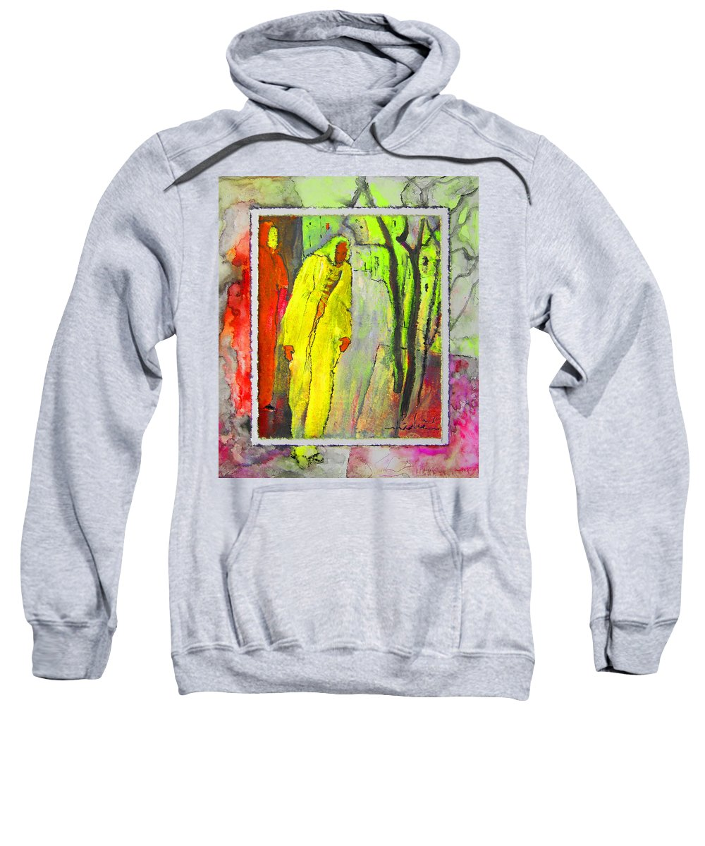 Acrylics Sweatshirt featuring the painting Framed by Miki De Goodaboom