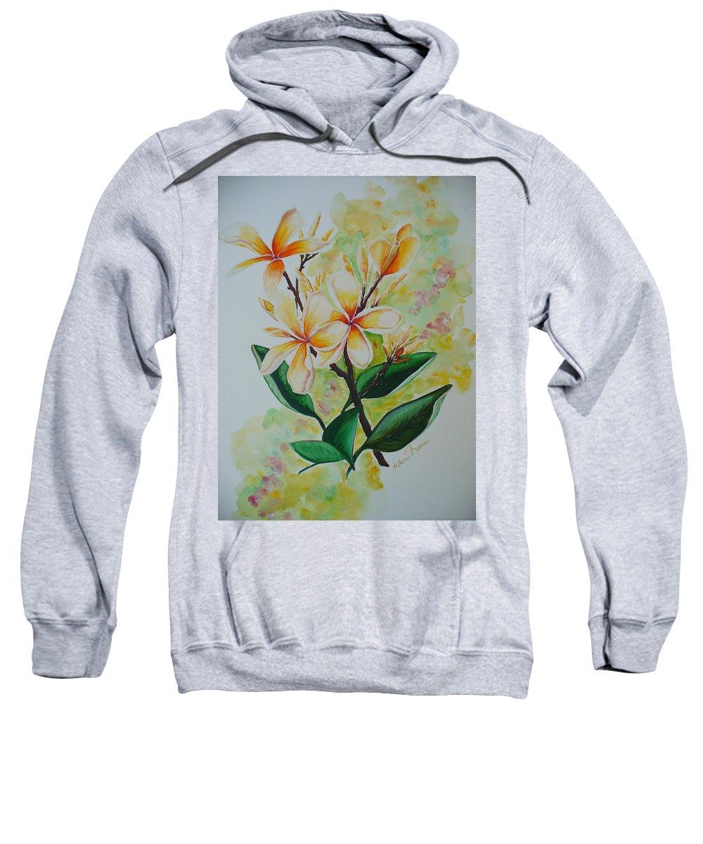 Sweatshirt featuring the painting Frangipangi by Karin Dawn Kelshall- Best