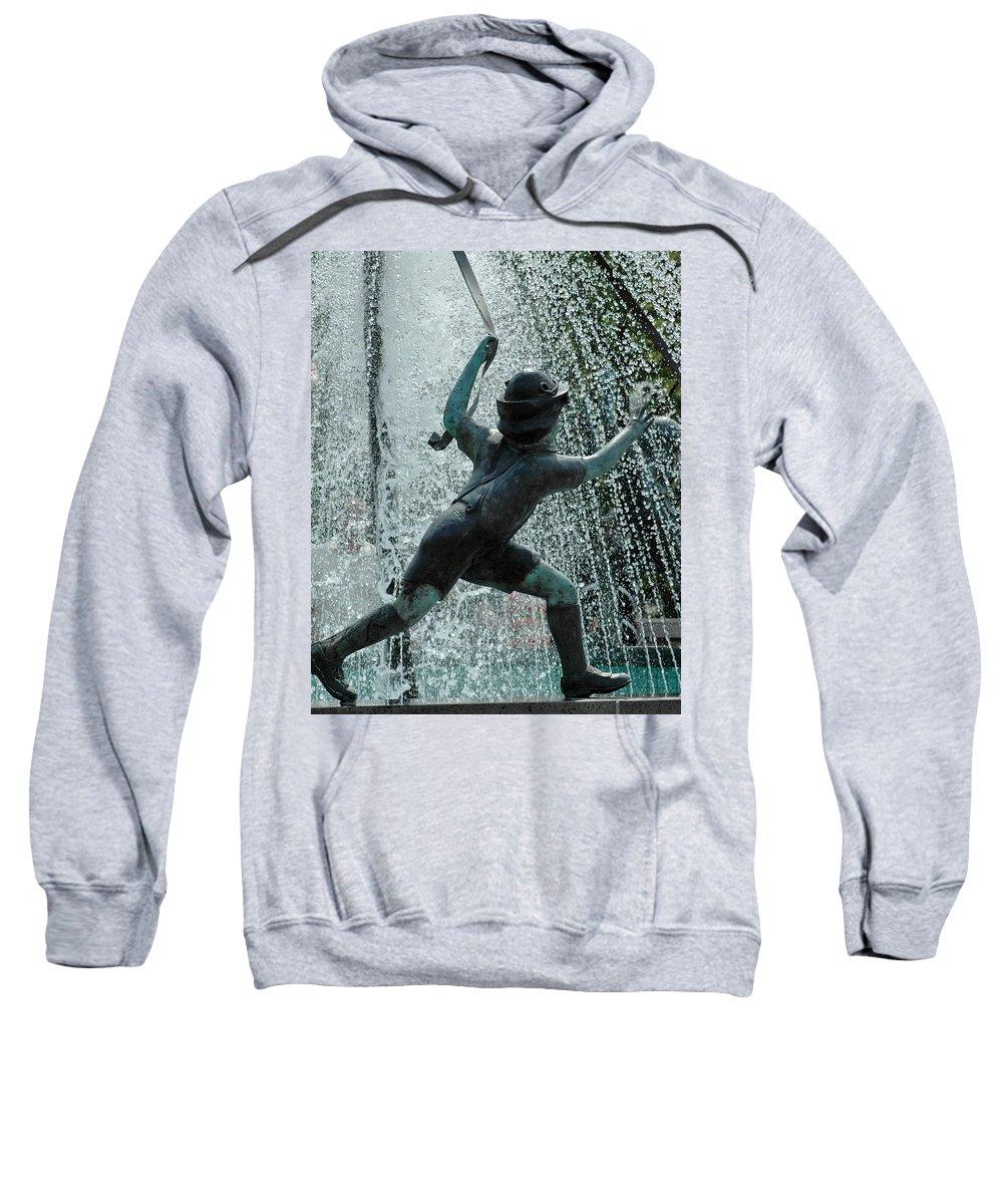 Usa Sweatshirt featuring the photograph Frankenmuth Fountain Boy by LeeAnn McLaneGoetz McLaneGoetzStudioLLCcom