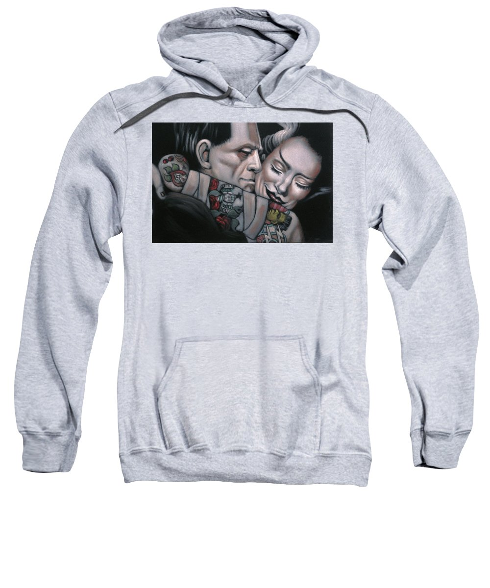 Frankenstein And Wife Sweatshirt featuring the painting Frankenstein And Wife by Jesus Gutierrez