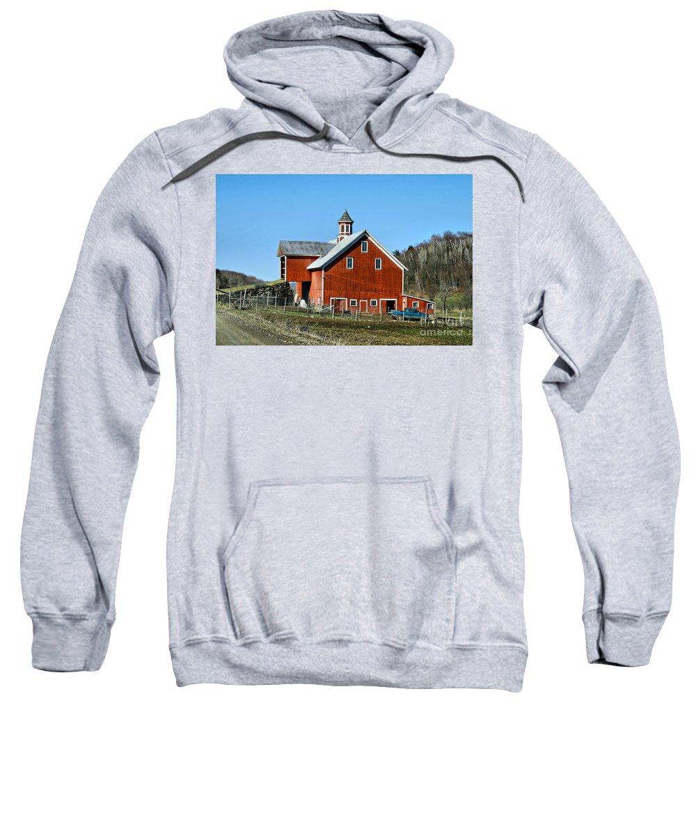 Barn Sweatshirt featuring the photograph Franklin Spring Barn by Deborah Benoit