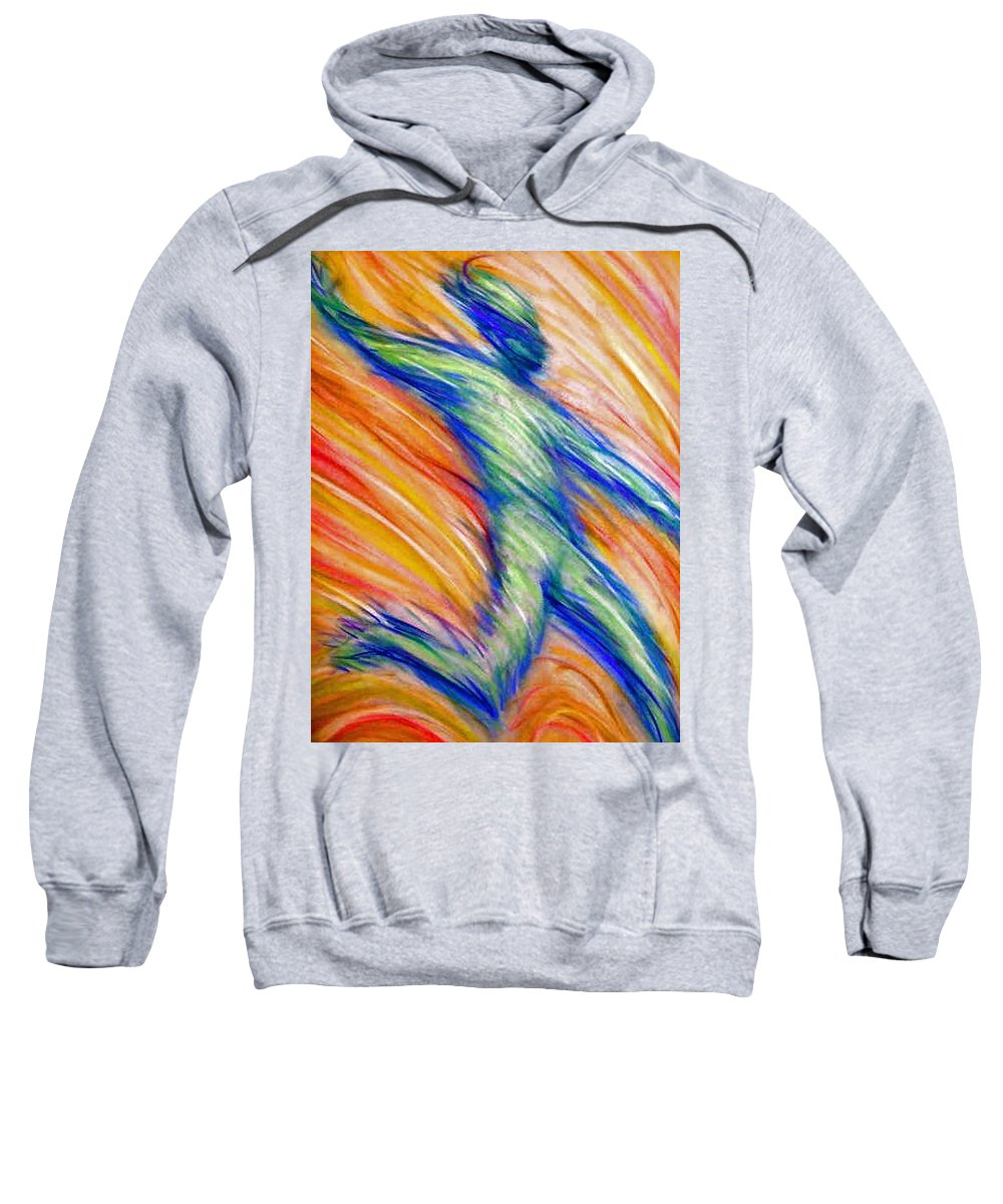 Sweatshirt featuring the drawing Free Fall by Jan Gilmore