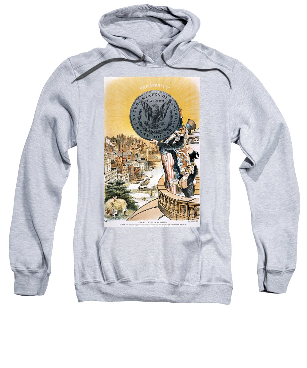 1890 Sweatshirt featuring the photograph Free Silver Cartoon, 1890 by Granger