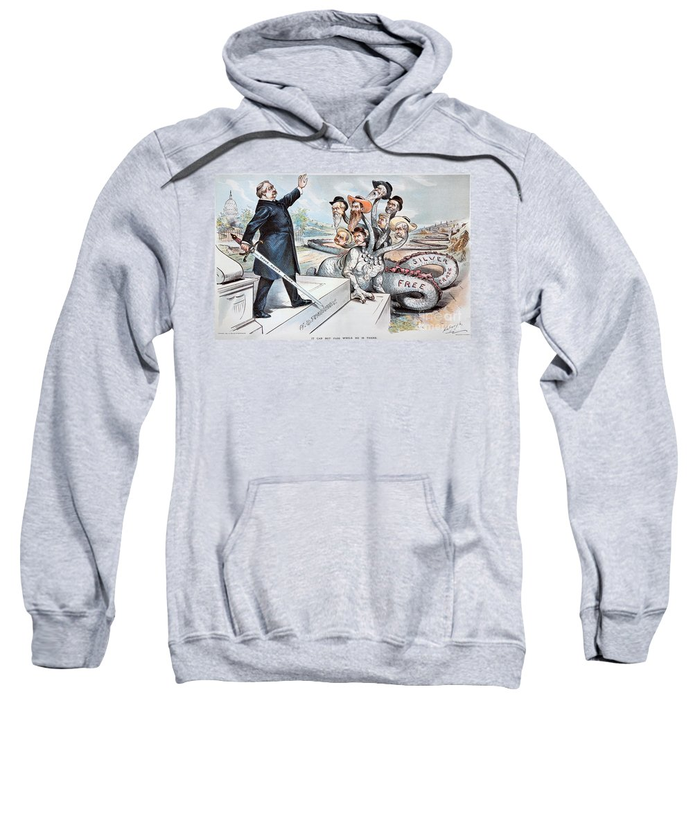 1895 Sweatshirt featuring the photograph Free Silver Cartoon, 1895 by Granger