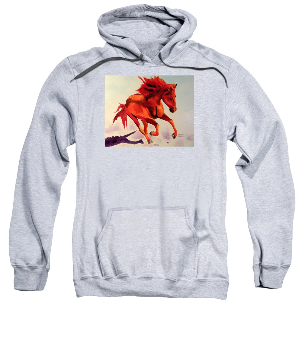 Oil On Canvas By Arturo Garcia Sweatshirt featuring the painting Free Spirit by Arturo Garcia