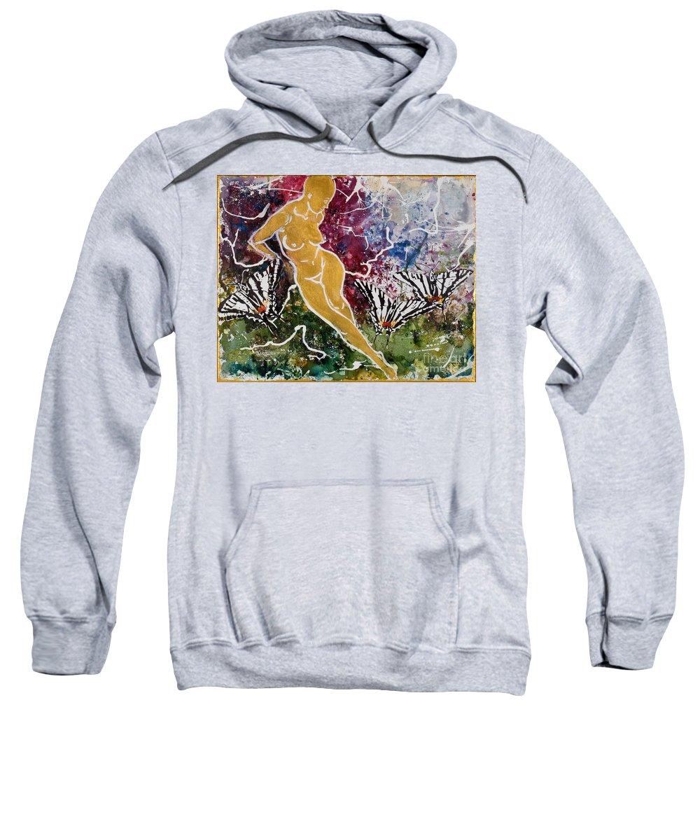 Nude Sweatshirt featuring the painting Freedom by Elisabeta Hermann