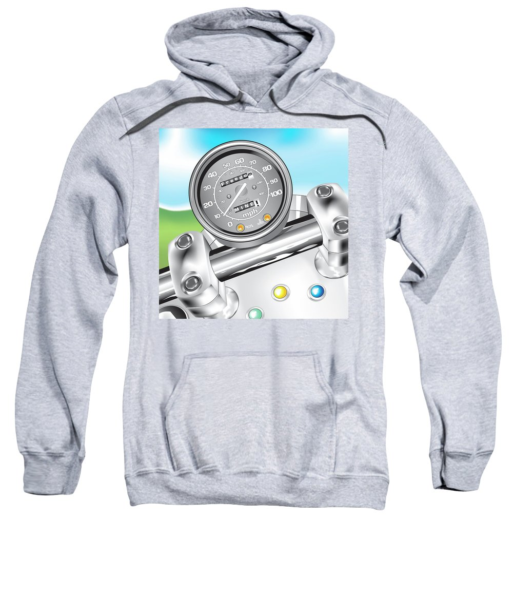 Motorcycle Sweatshirt featuring the digital art Freedom, Mine by Linda Carruth