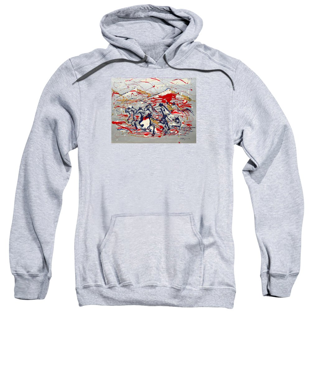 Impressionist Painting Sweatshirt featuring the painting Freedom On The Range by J R Seymour