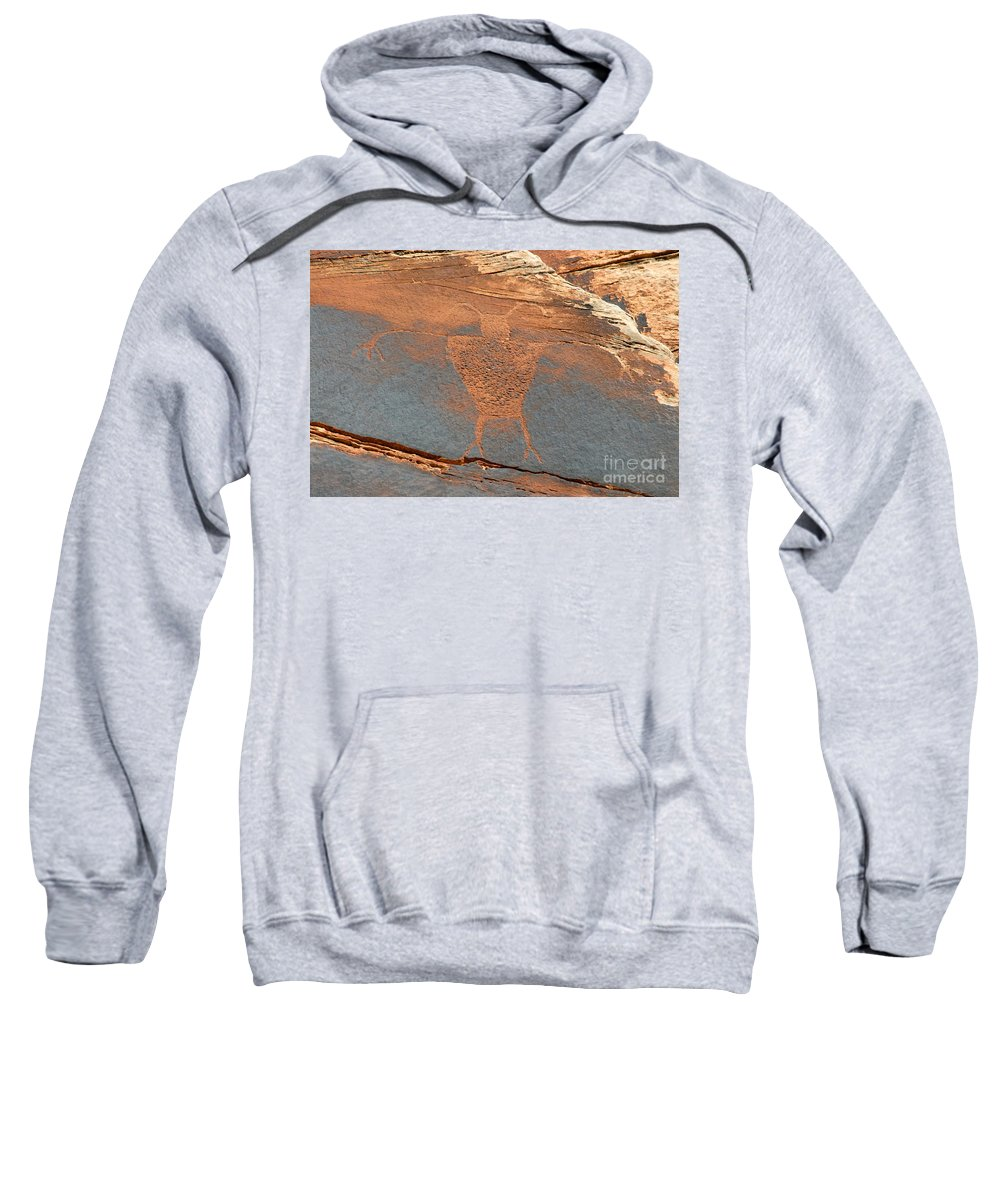 Petroglyph Sweatshirt featuring the photograph Fremont Man by David Lee Thompson