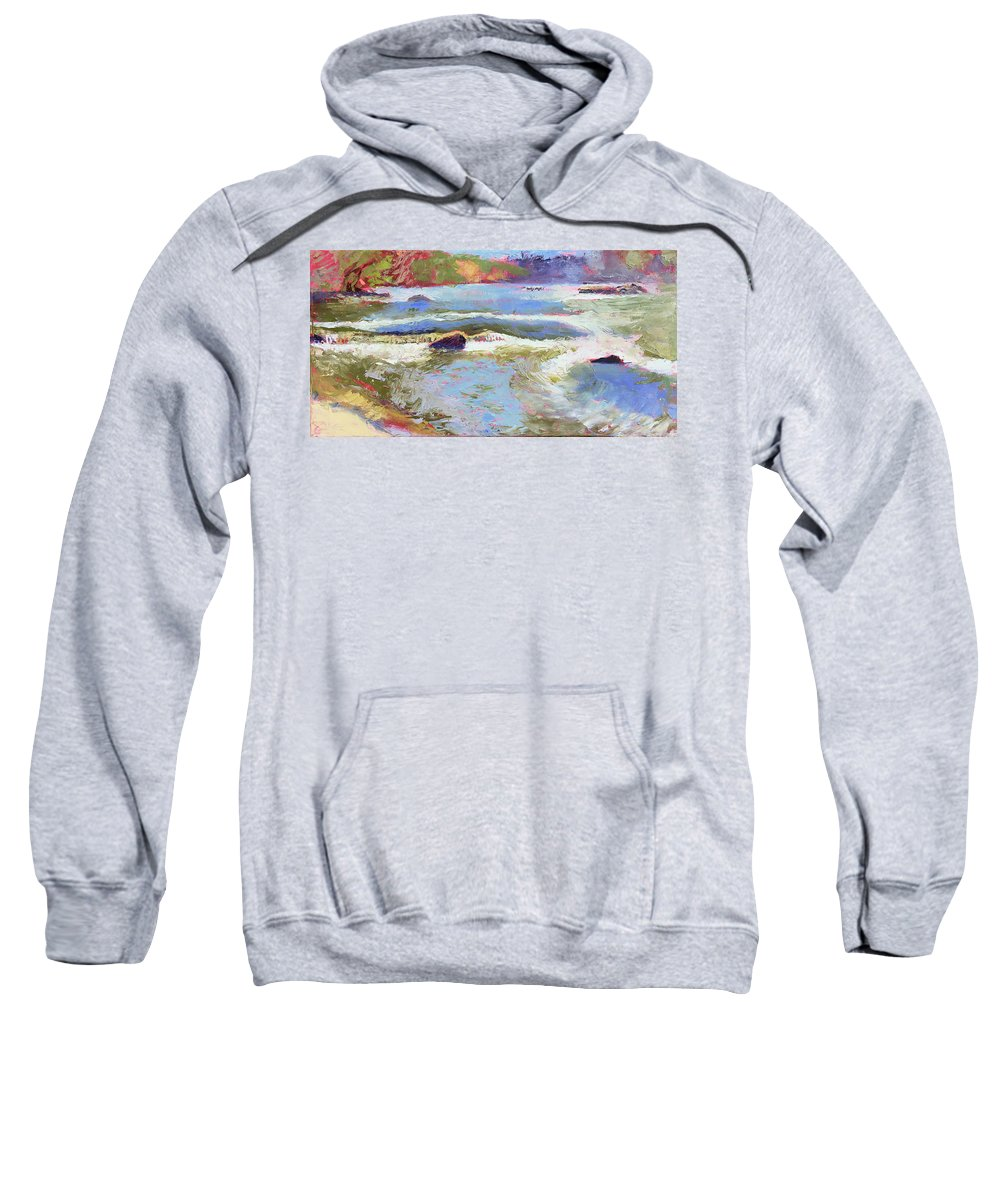 River Sweatshirt featuring the painting French Broad Rver Overflowing by Lisa Blackshear