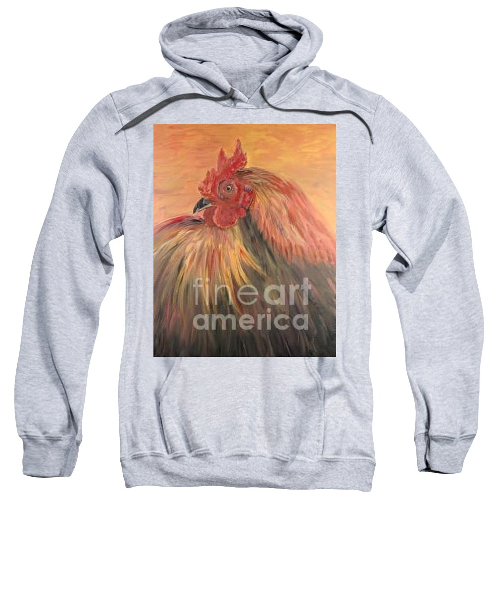 Rooster Sweatshirt featuring the painting French Country Rooster by Nadine Rippelmeyer