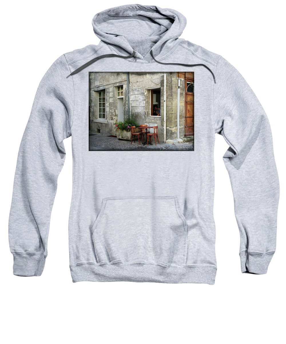 Bistro Sweatshirt featuring the photograph French Countryside Corner by Joan Minchak