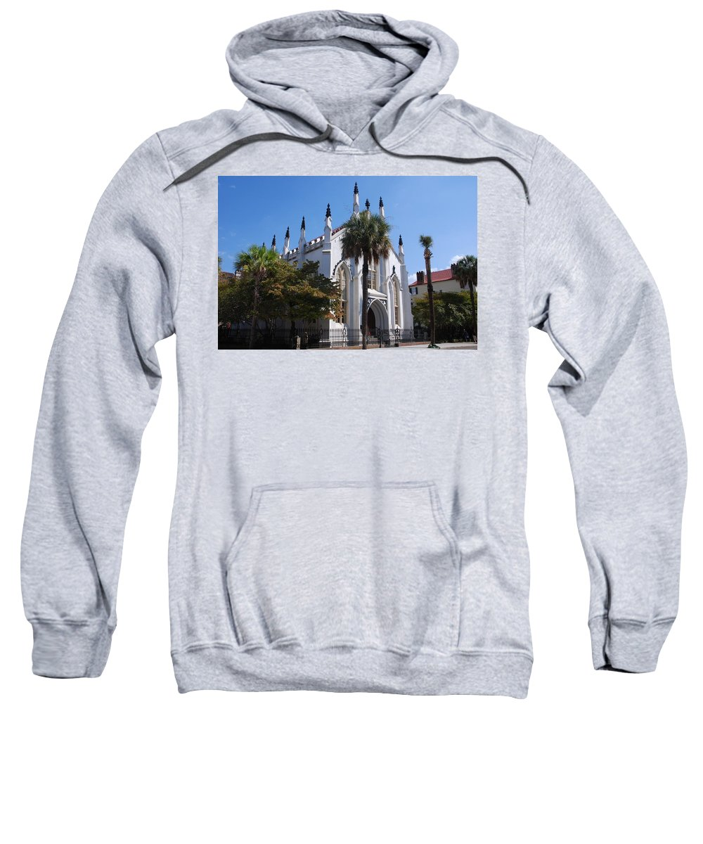 Photography Sweatshirt featuring the photograph French Huguenot Church In Charleston by Susanne Van Hulst